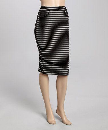 This Black & White Narrow-Stripe Midi Skirt is perfect! #zulilyfinds