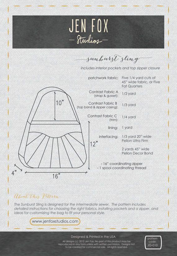 Sewing Pattern: Sunburst Sling PDF download, large bag with zipper ...