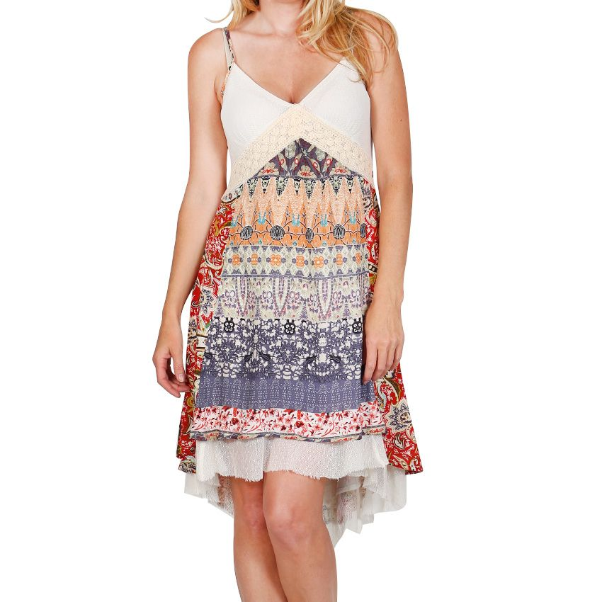 Miss Me Women's Lace and Abstract Print Dress