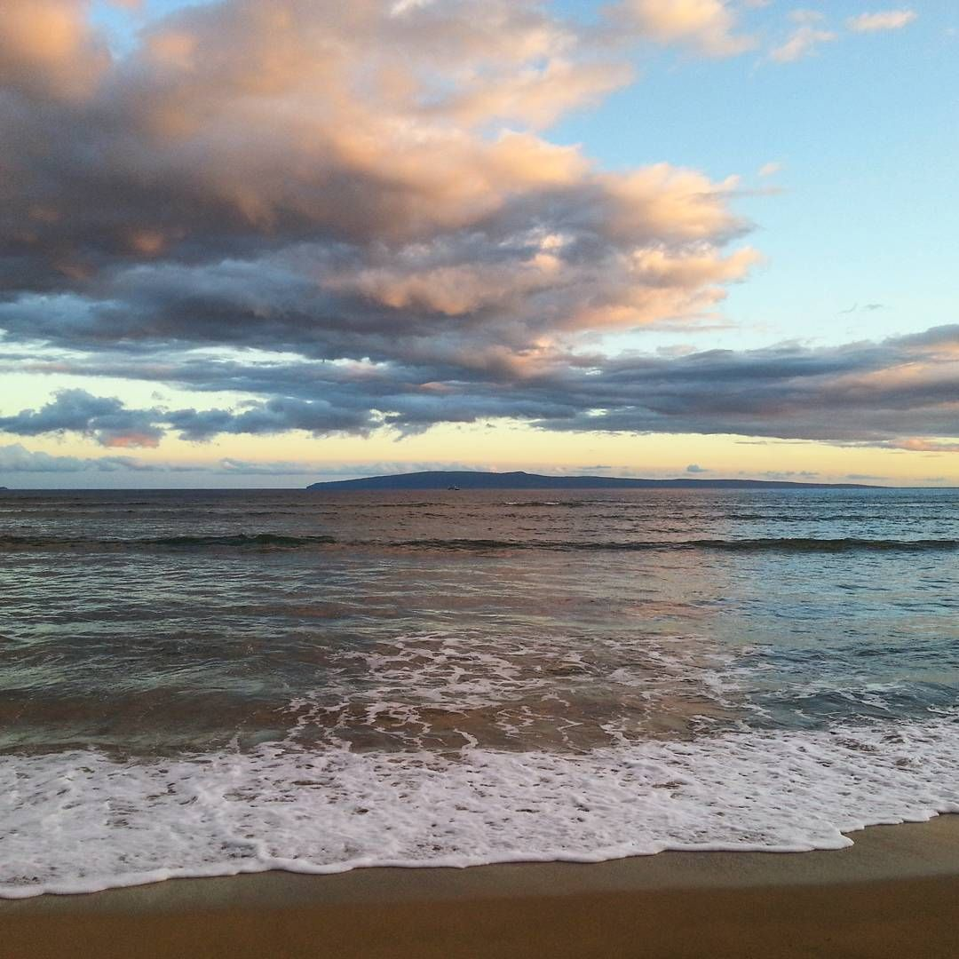 The island of #Lanai at sunset from #Maui