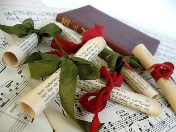 Jane Austen Book Scrolls Set,Vintage Pride and Prejudice Ornaments,Jane Austen Christmas,Pride and P #prideandprejudice