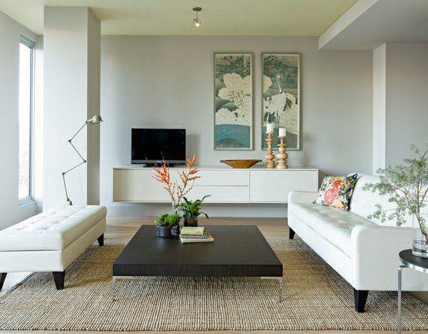 wohnzimmermöbel schwebende weiße Kommode in Hochglanz Wohnzimmer - wohnzimmermobel modern