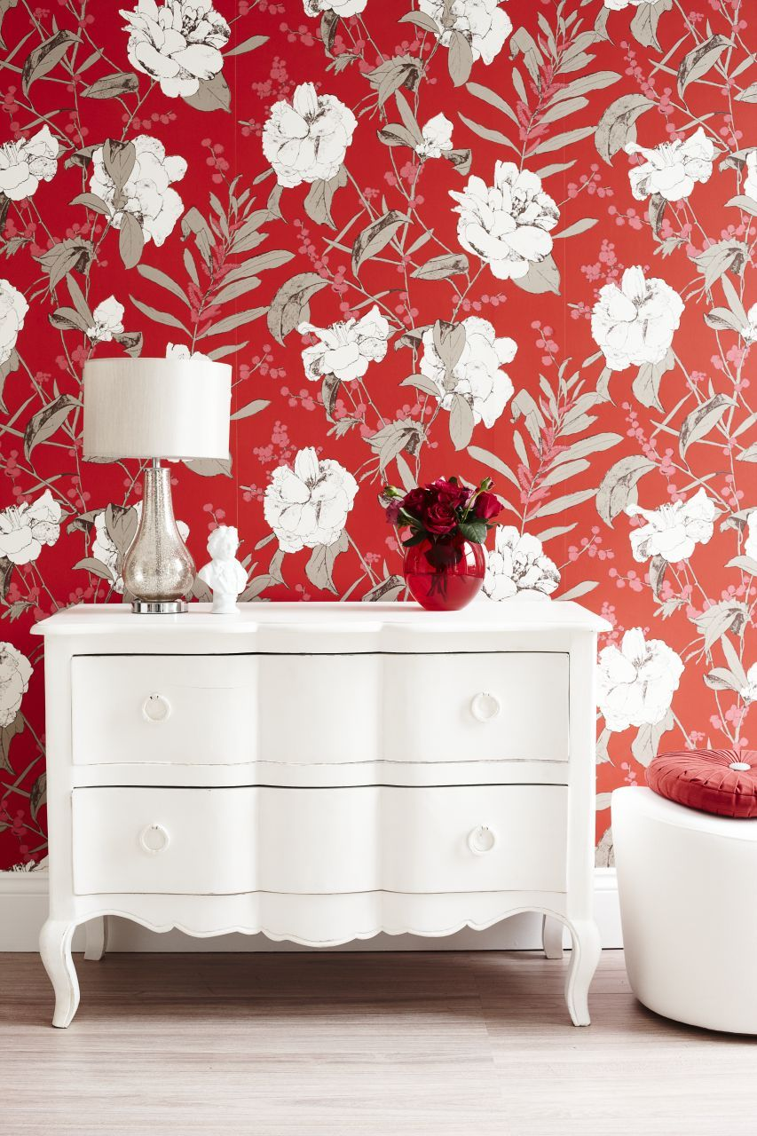 Team A Vibrant Red Wallpaper Design With White Furniture And A Light Wooden  Floor For A Fresh And Bold Look. Photography: Joanna Henderson.