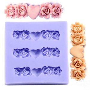 Fondant Cake Molds Uk : Rose & Heart Silicone chocolate Ice Cake Cookie Fondant ...