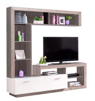 meuble t l glen blanc et bois gris tv stands and salons. Black Bedroom Furniture Sets. Home Design Ideas