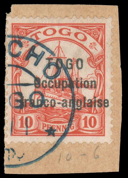 TOGO - FRENCH OCCUPATION, 1915, 10pf CARMINE SANS-SERIF OVERPRINT USED ON PIECE, #166. tied by blue Anecho d.s., very fine, cat. $450.00, Maury #10 @ �625.00