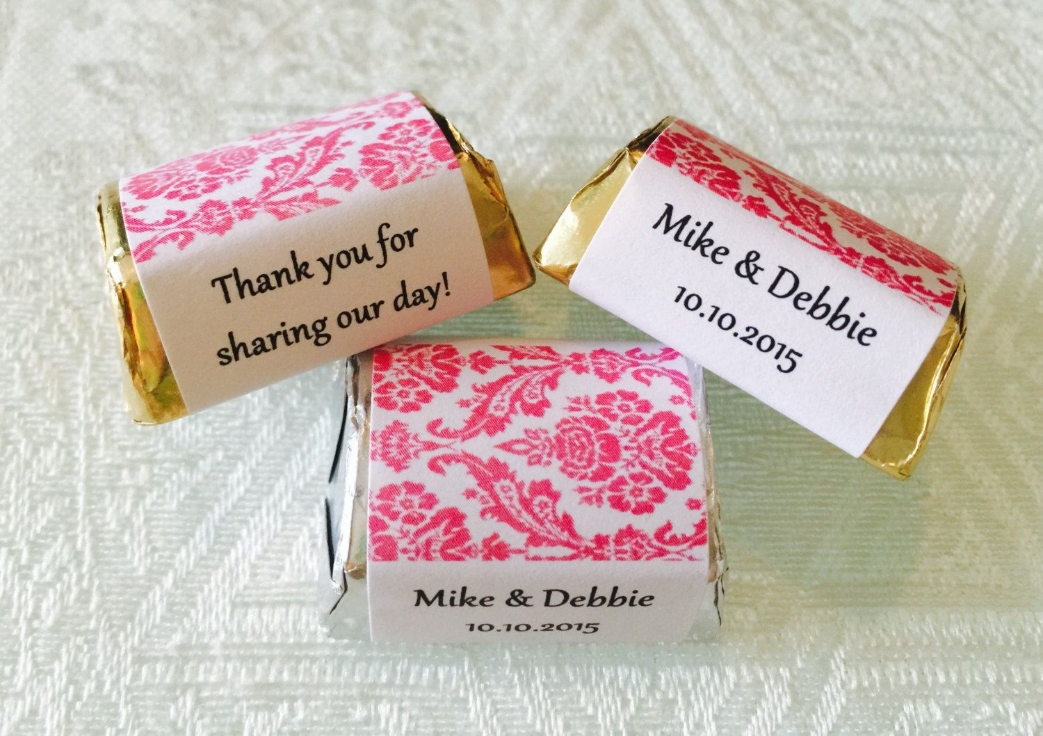 210 HOT PINK DAMASK wrappers/stickers/labels for your Hershey Nugget ...