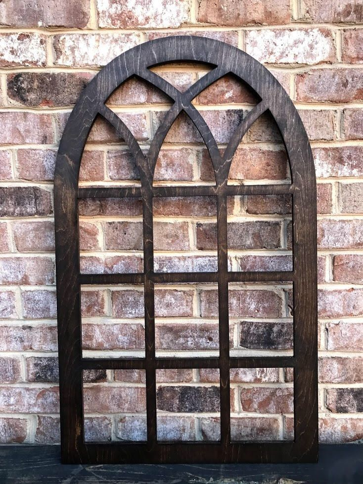Arched Farmhouse frame, faux window, arched, stained, custom arch, shabby chic, wall hanging ...