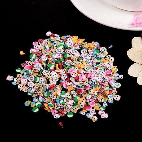 1000 Pieces/Bag Fimo Clay 3 Series Fruit Flowers Animals DIY 3D Nail Art Decorations Nails Art Decoration Sticker Design