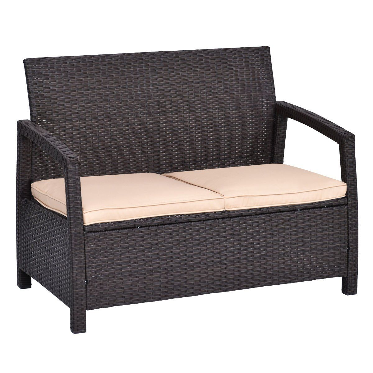 Admirable Outdoor Rattan Loveseat Bench Couch Chair With Cushions Andrewgaddart Wooden Chair Designs For Living Room Andrewgaddartcom