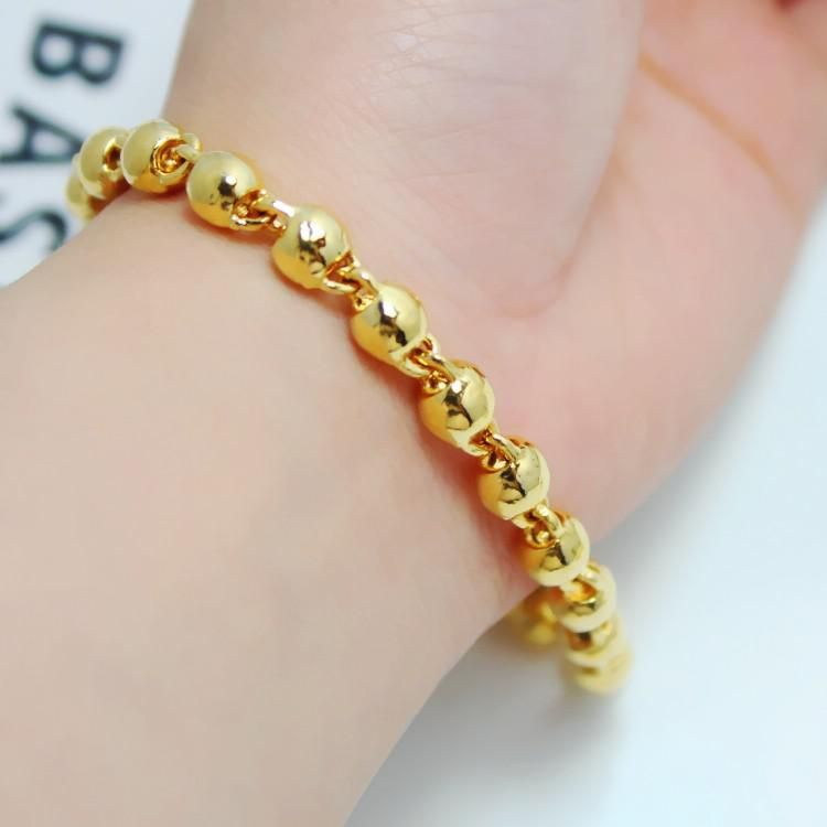 Men and women can wear a rosary bead bracelet solid 24K gold plated