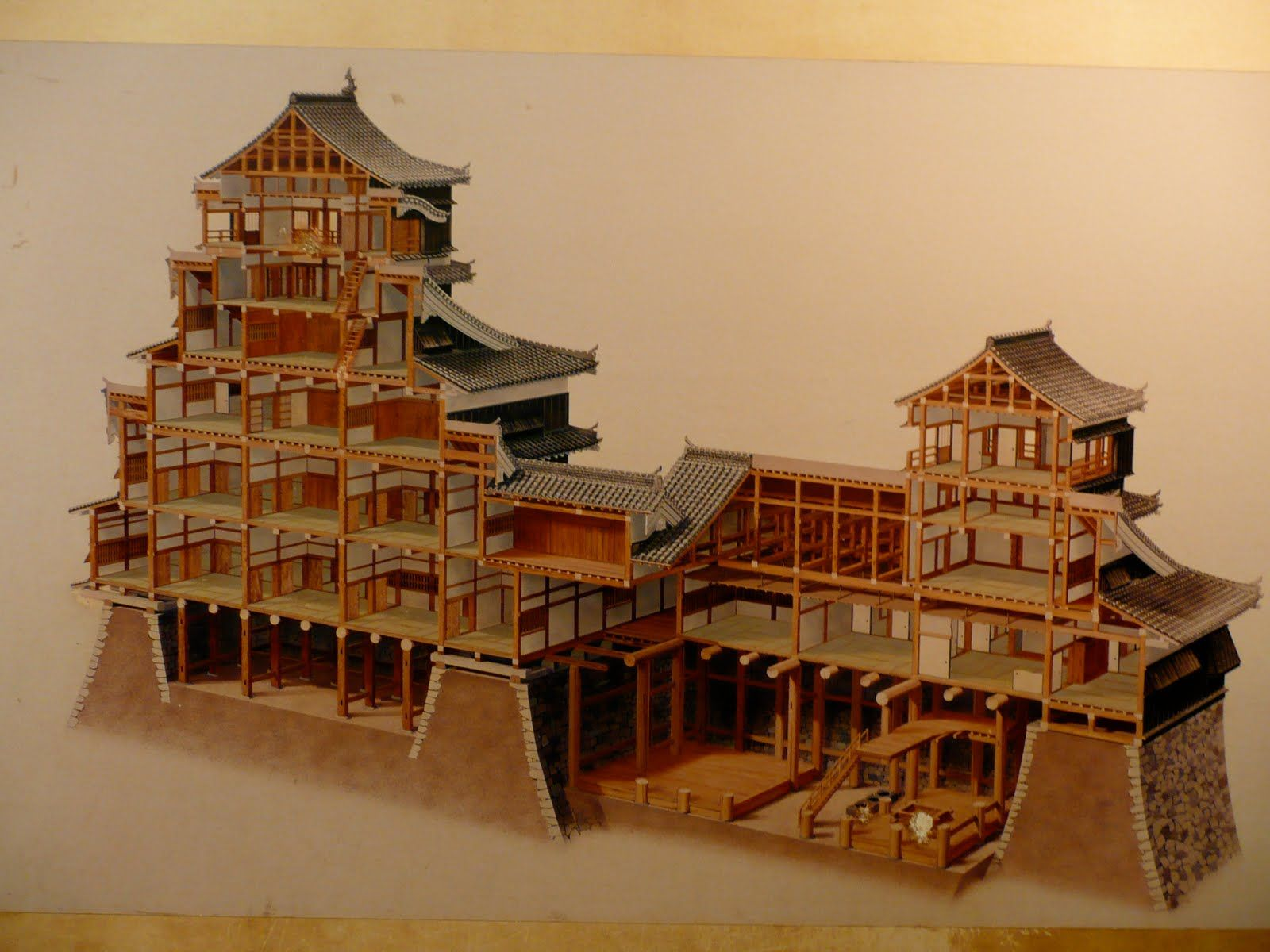 Cut open castle japan interiors classic japon for Arquitectura japonesa tradicional