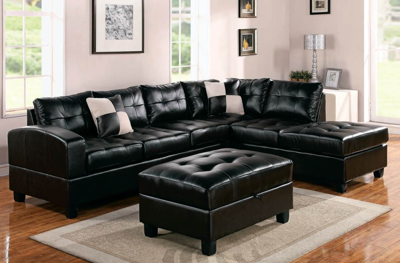 Modern Black Leather Sectional Sofa Black Sofas Leather