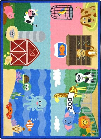 Animals All Around© Carpet Rug from Honor Roll Childcare Supply.