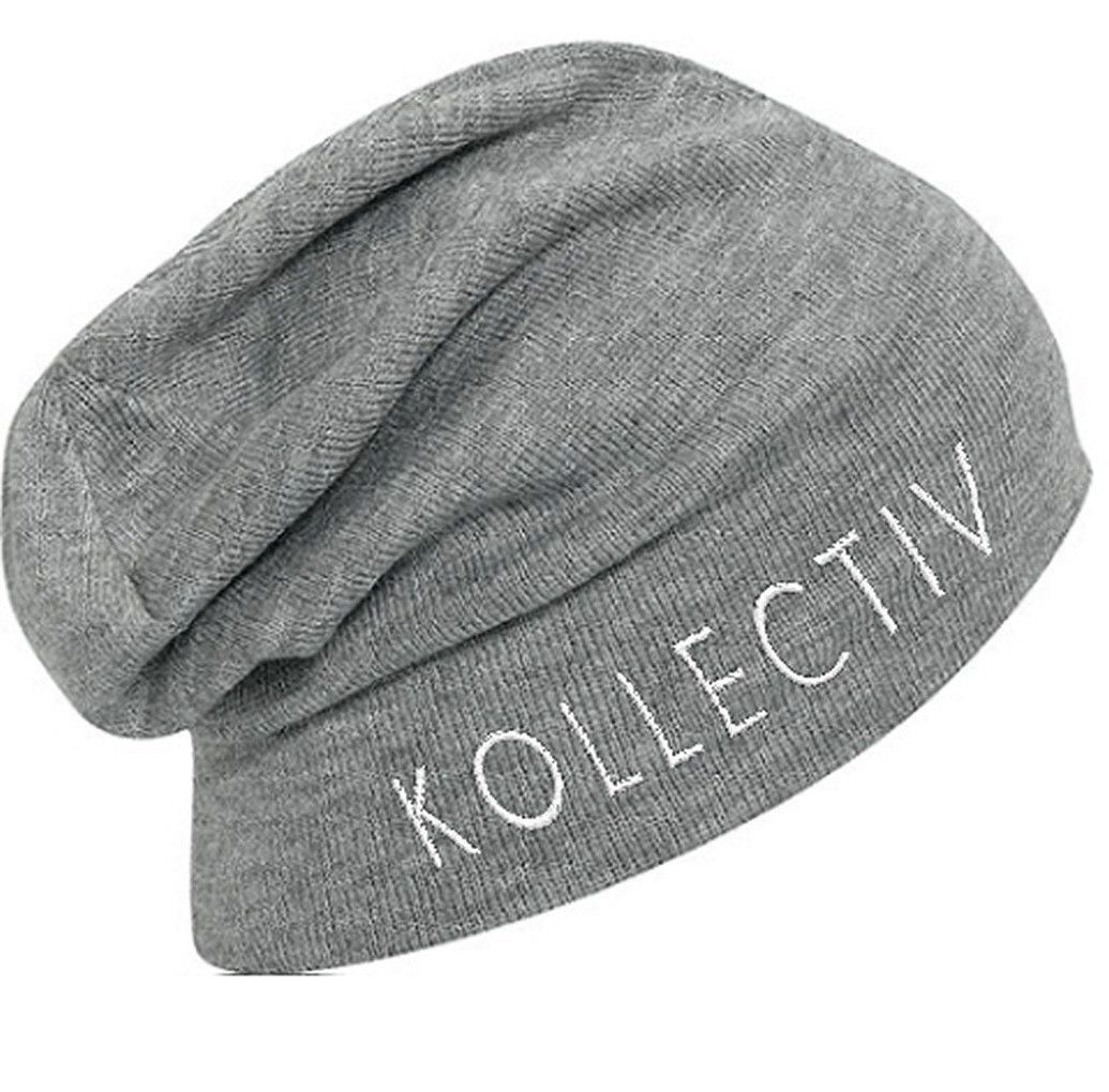 """Kollectiv """"Wordmark"""" Knit Slouch Beanie 12"""" (H.Gry/Wht)"""