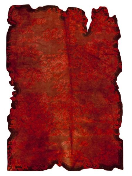 Jalwa 1 - Red is a hand tufted, hand-stitched rug that is made of 100% wool. This rug embodies the concept of recycling. It is not made of new yarn, but  made using the left over yarn from other rugs that has been re-dyed/over-dyed. Made in India.