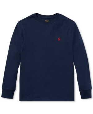 b5216d538 Polo Ralph Lauren Big Boys Cotton Long-Sleeve T-Shirt - Cruise Navy M  (10/12)