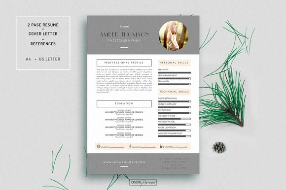 Resume Cv Template For Word By Crystalresumes On Creativemarket