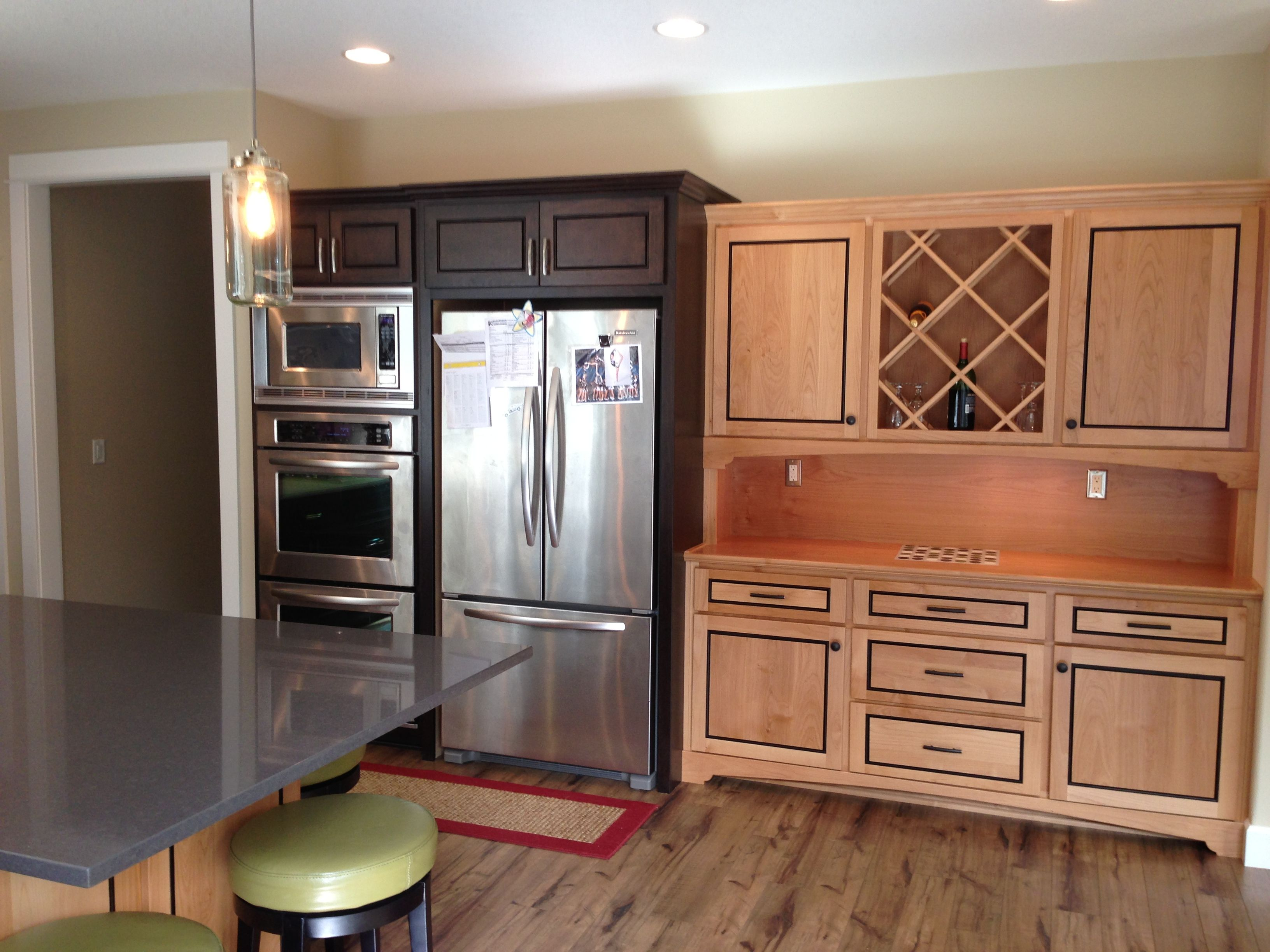 Kitchen mixed woods, built in hutch