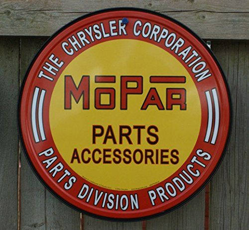 WE USE MOPAR CHRYSLER CORPORATION ENGINEERED PARTS ACCESSORIES ROUND TIN SIGN