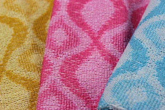 Vintage Frottee Handtuch Kuchenhandtuch Rot Blau Gelb Gasteh