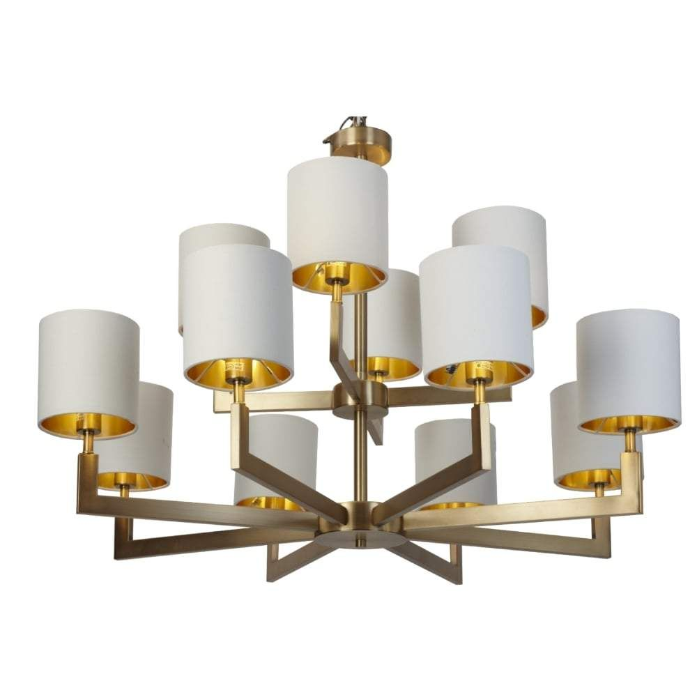 Rv Astley Ealga 12 Arm Chandelier In Brushed Gold Arm Chandelier Chandelier Chandelier Shades