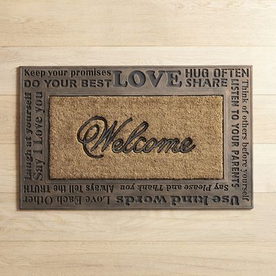 Words of welcome are always a good idea at the front door, and this mat serves up the best words of welcome imaginable. Plus, it's woven from natural coir and accented with rubber, so that your welcome doesn't wear out any time soon.