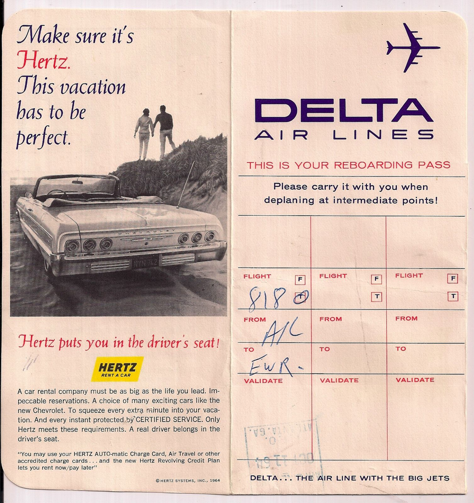 Delta Air Lines Ticket Jacket 1964 ATLEWR with Hertz