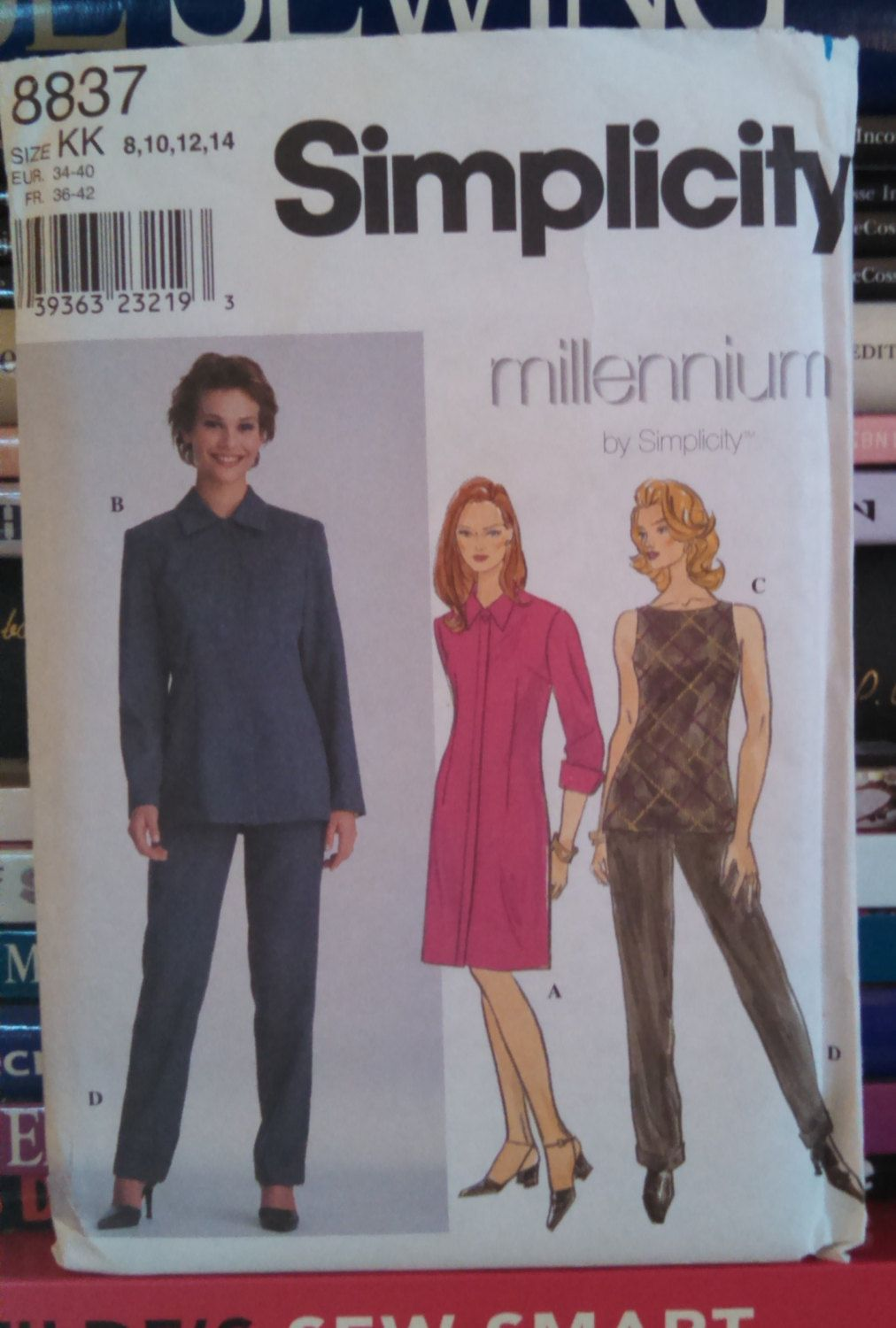 1999 Millennium by Simplicity 8837-Lined, Semi-Fitted Coatdress-Jacket w Fly Front Button Opening-Top and Pants-Size 8-10-12-14-UNCUT by PaperDiversities on Etsy