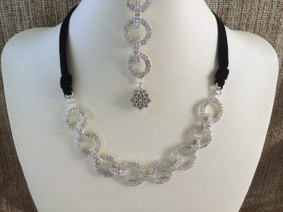Rhinestone Necklace Black Velvet Adjustable by NeutralNellies