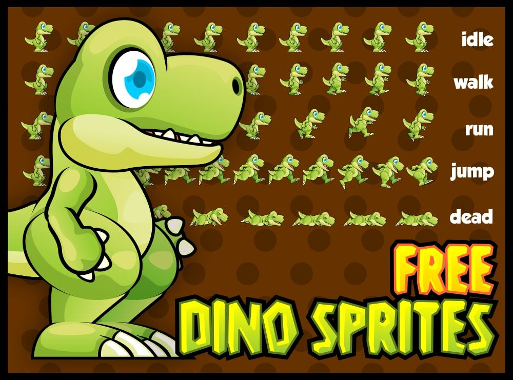 Free Sprite With Cute Dinosaur Character Suitable For The 2d