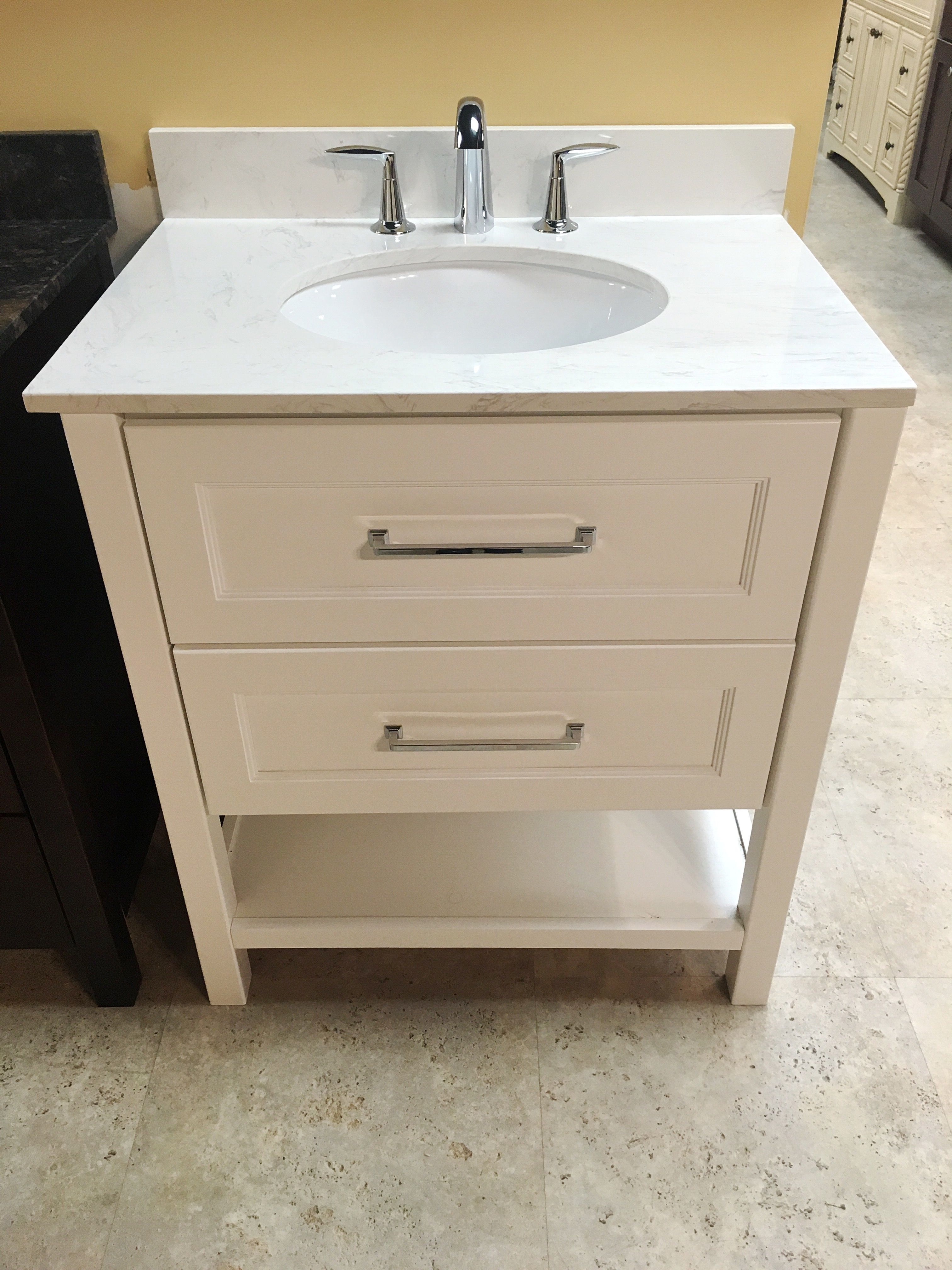 Me U0026 Zoe Furniture Style Vanity. Lancaster   True White With And Engineered  Stone Countertop That Looks Like Marble!