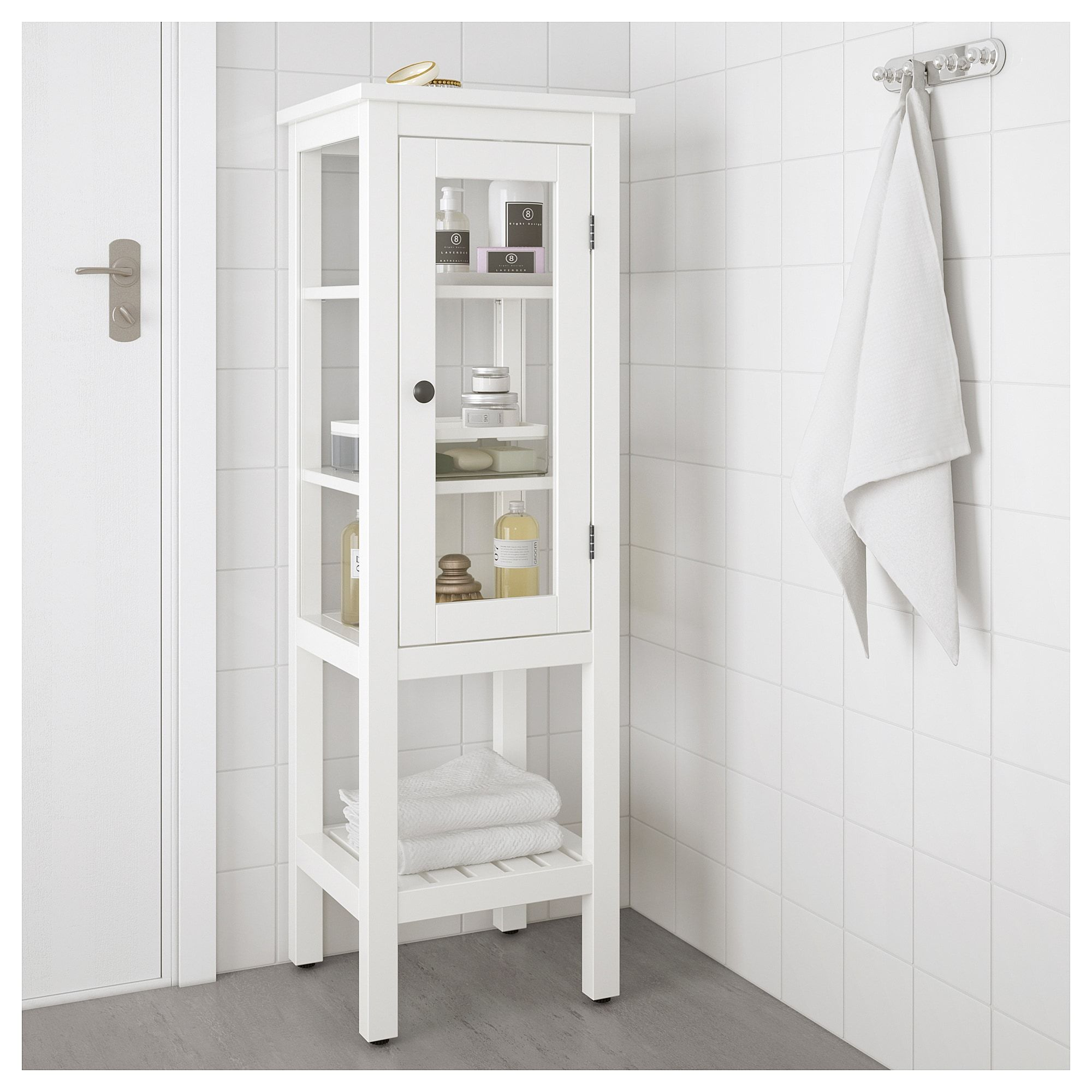 HEMNES High cabinet with glass door - white - IKEA  Glass cabinet
