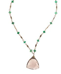 """Faceted Smokey Topaz Drop on Green Onyx on gold filled chain. Necklace length 17 3/4""""-19"""" inches. Pendent length 1"""" inch. Pendent width 1 3/4"""" inch. Lobster clasp. Made in USA.  www.thesagelifestyle.com"""