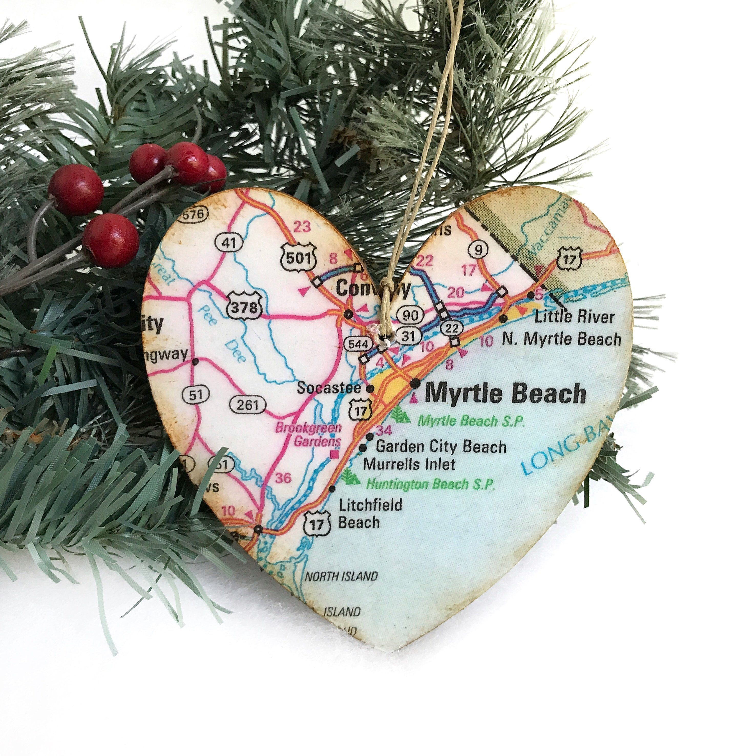 Personalized Myrtle Beach Ornament Map Christmas South