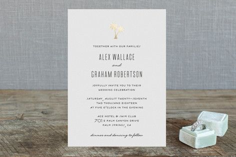 """Gilded Palms"" - Destination, Modern Foil-pressed Wedding Invitations in Cotton by jot and tittle design."