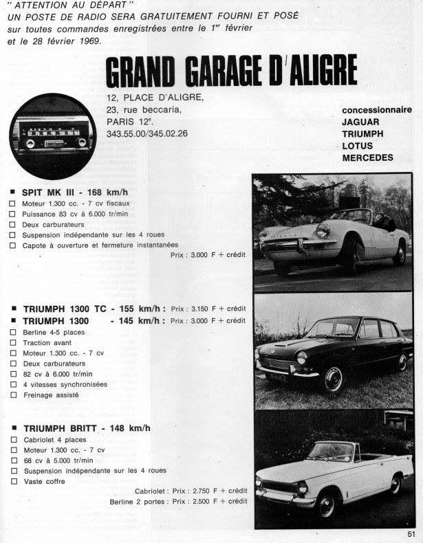 Triumph Dealer In France Standardtriumph Car Adverts