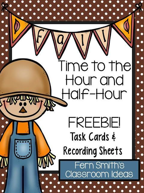 Fern Smith\u0027s Free Fall Time Task Cards Math, Time activities and