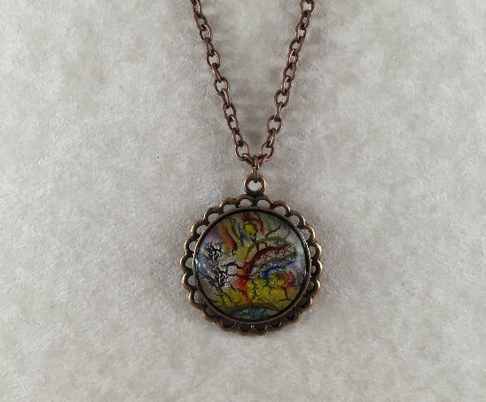 Abstract Foil Glass Copper Pendant