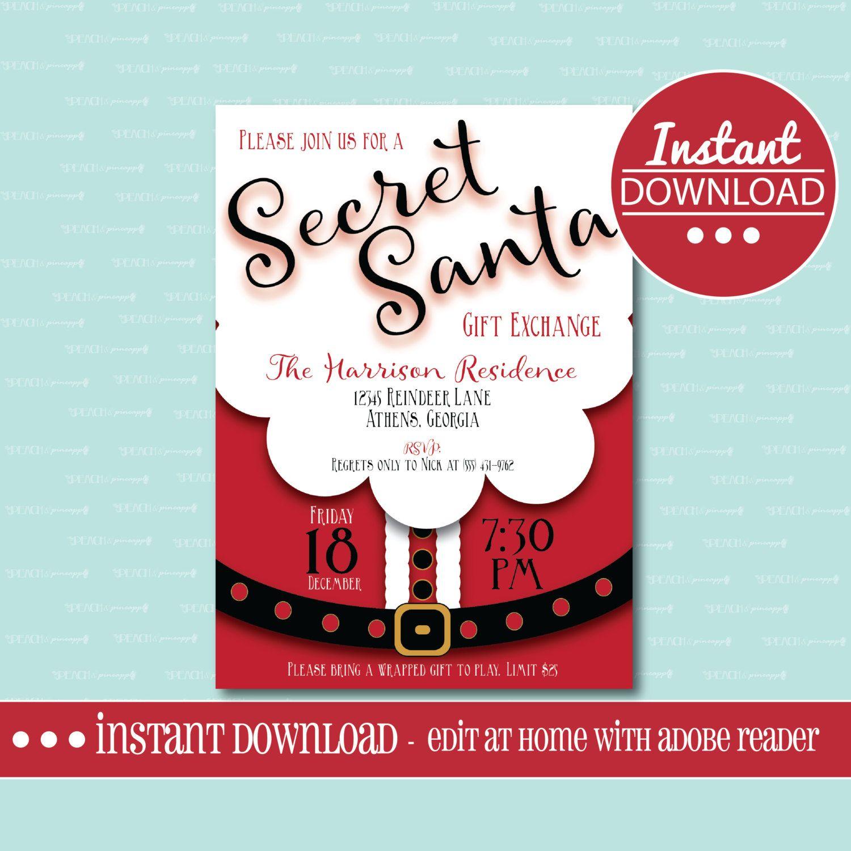 Secret Santa Invitation Editable Printable Christmas Gift