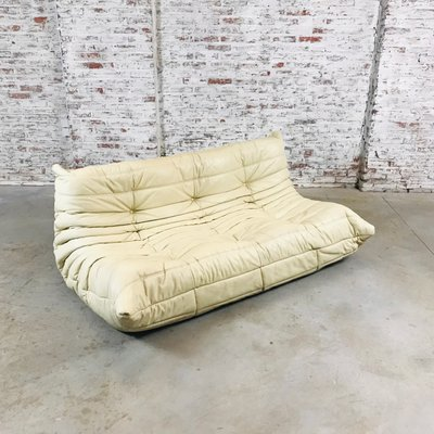 Large Mid Century Beige Leather Togo Sofa By Michel Ducaroy For