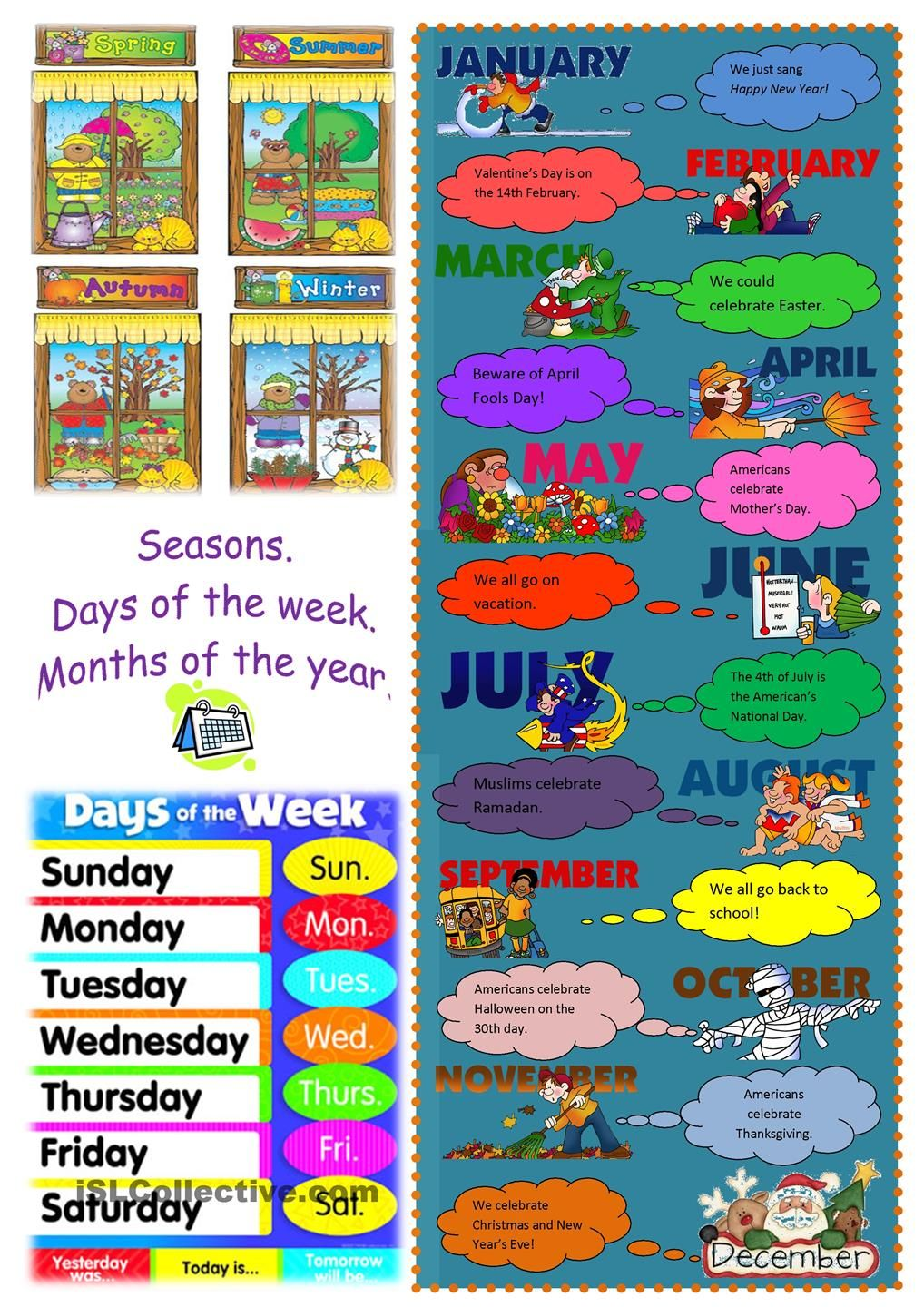 Seasons, days, months poster | Esl | Pinterest | Worksheets ...