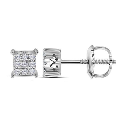 bbecaa6ae 10kt White Gold Womens Round Diamond Square Cluster Screwback Earrings 1/6  Cttw