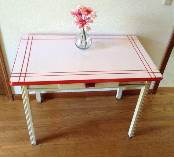Vintage Enamel Table, Porcelain Top Table, Painted Kitchen ...