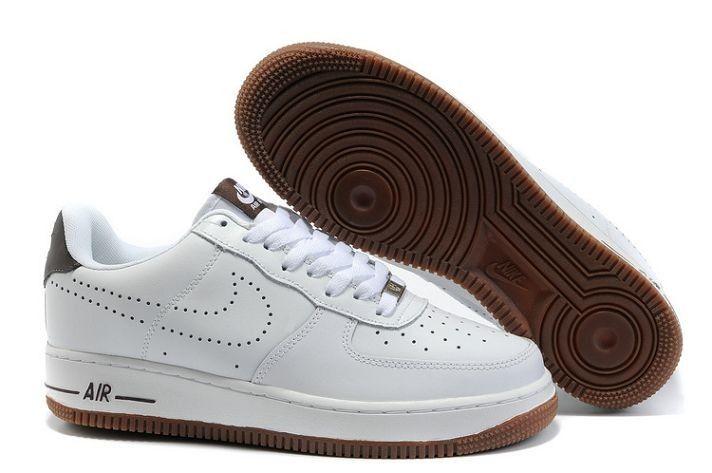 c85b3d1d82731 Meilleur Nike Air Force 1 Low Cuir Dunk Pour Homme Chaussures Marron Blanc  Soldes France