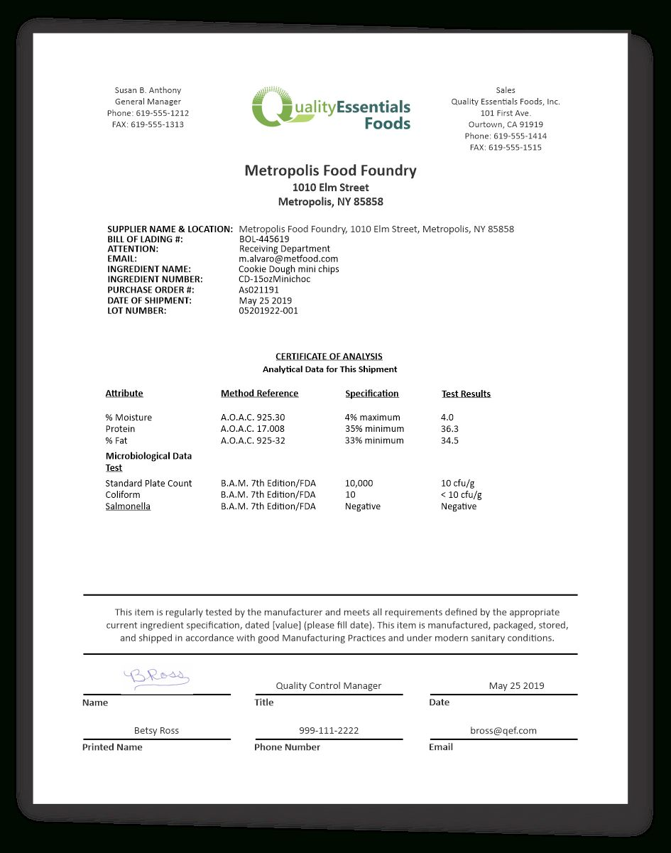 Certificates Of Analysis For Food Quality Essentials Suite For