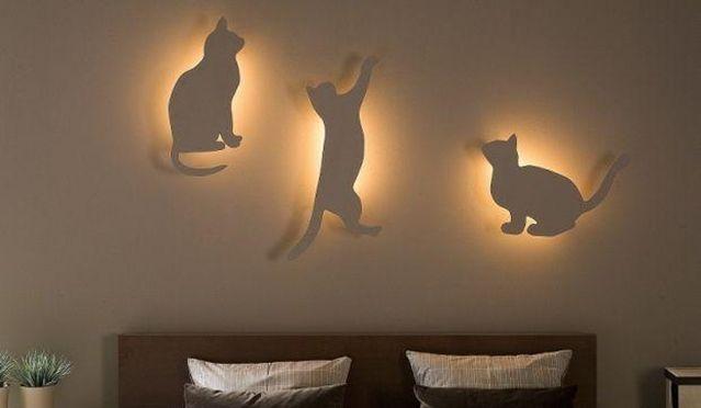 DIY quarto iluminação e decoração ideia para amantes do gato