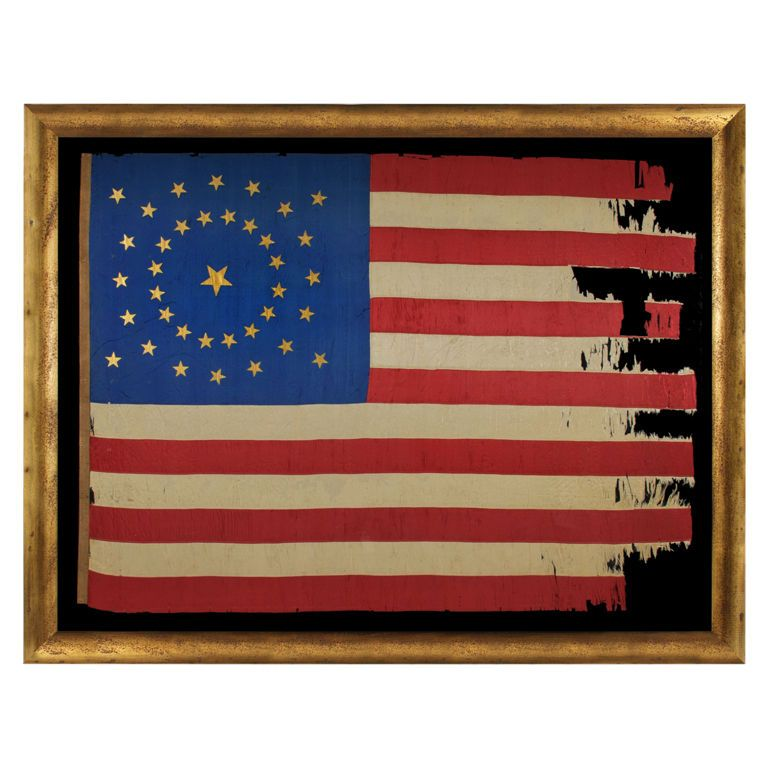 Reconstruction Era 37 Star American Flag Flag Old Glory Painting