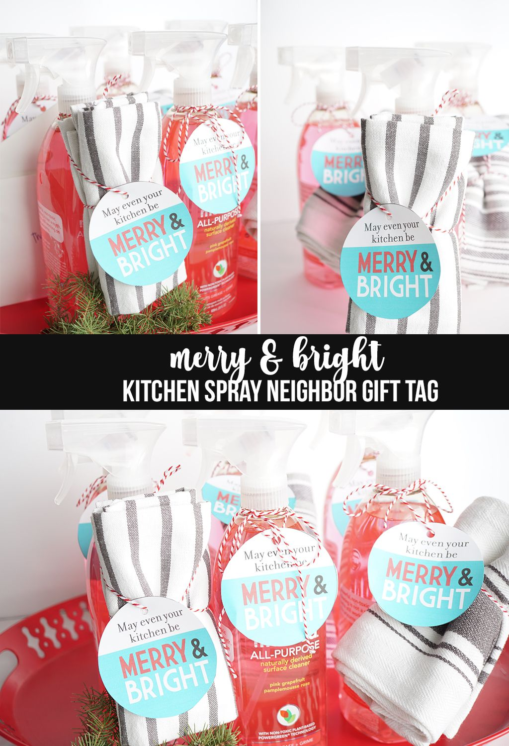 merry and bright kitchen spray gift tag | gift tags, merry