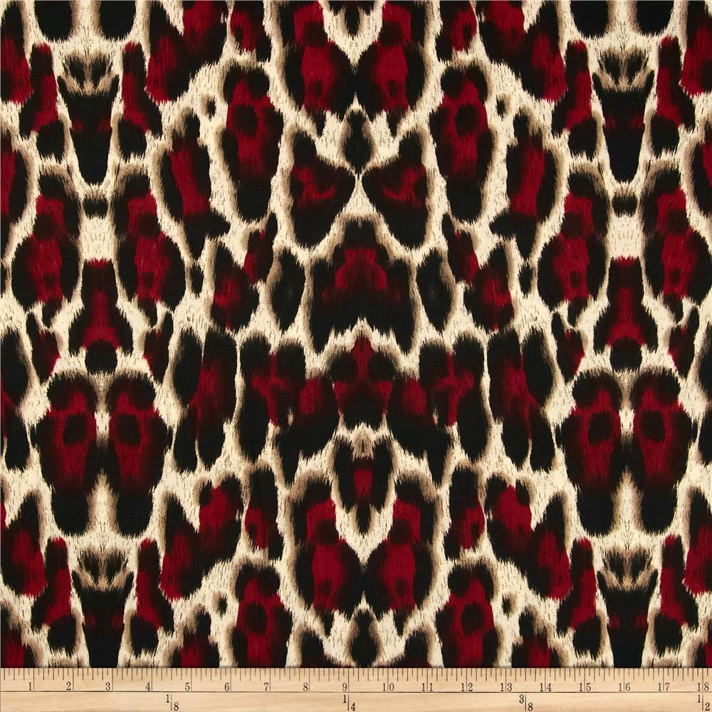 9f5b6e2fd2f Venice Stretch ITY Jersey Knit Cheetah Tan/Red/Black from @fabricdotcom  Venecia ITY